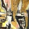 Detail of painting: Belle Cramer, 'Astronautic Age', an abstract work in yellow, grey and black.