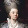Painting, a portrait of Queen Charlotte, seated, with towering hair and wearing a silver grey dress