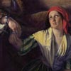 Detail of painting: William Gale, 'The Captured Runaway', showing a woman in a red headscarf handcuffed to a seated man.