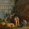Detail of Vernet's Noon- Return from Fishing, showing a group of figures by a river, with a viaduct in the background