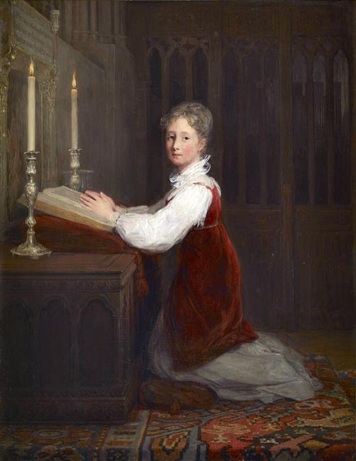 Painting of a young woman wearing a white blouse and red dress kneeling at a prayer desk