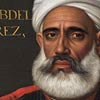 Detail of Portrait of Admiral Abdelkader Perez with a naval engagement beyond, by Michael Dahl and studio, showing a grey-bearded man wearing a white turban