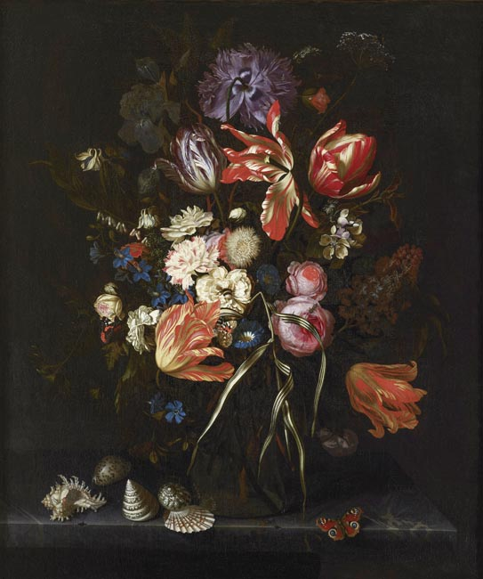 Still life of flowers in a glass vase on a marble ledge, with insects and shells
