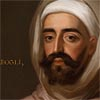 Detail of Portrait of Mohammed Ben Ali Abgali, by Enoch Seeman, showing a dark-bearded man wearing a white turban under a hooded cloak